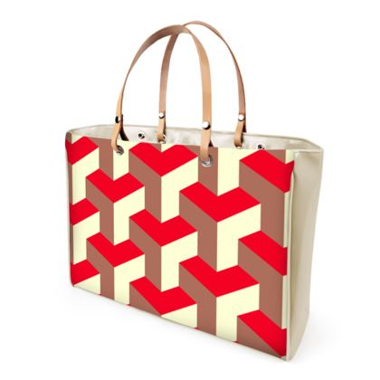 Heart in a cube - Handbags - Abstract geometry, red, contrasting, bright, elegant, statement, futuristic, spectacular, graphic, noble, asymmetrical, effective, stylish gift - design by Tiana Lofd