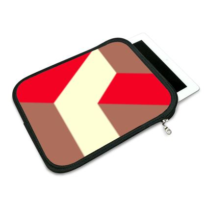 Heart in a cube - iPad Slip Case  - Abstract geometry, red, contrasting, bright, elegant, statement, futuristic, spectacular, graphic, noble, asymmetrical, effective, stylish gift - design by Tiana Lofd