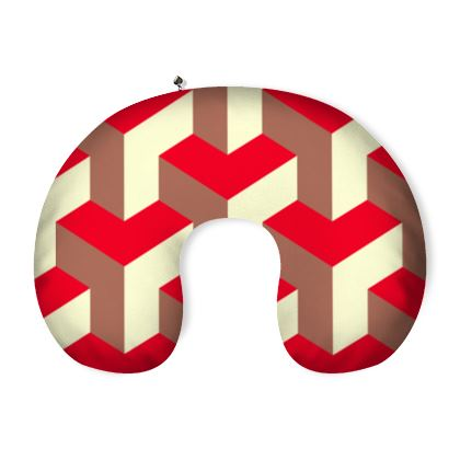 Heart in a cube - Neck Pillow - Abstract geometry, red, contrasting, bright, elegant, statement, futuristic, spectacular, graphic, noble, asymmetrical, effective, stylish gift - design by Tiana Lofd