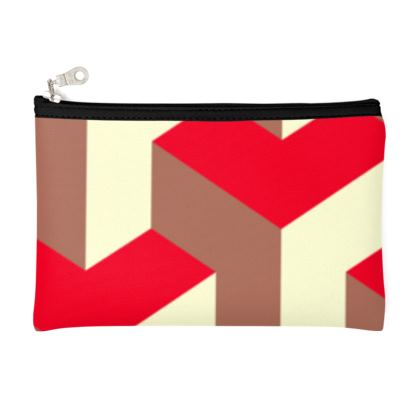 Heart in a cube - Pencil Case - Abstract geometry, red, contrasting, bright, elegant, statement, futuristic, spectacular, graphic, noble, asymmetrical, effective, stylish gift - design by Tiana Lofd