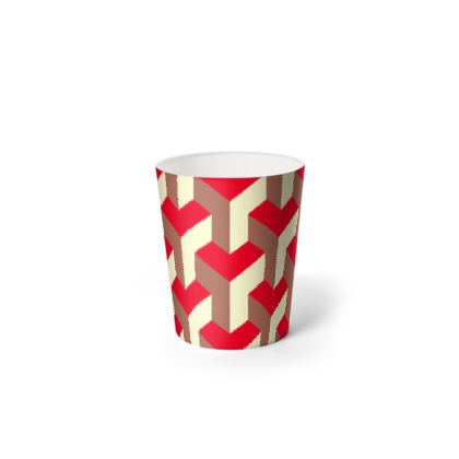 Heart in a cube - Waste Paper Bin - Abstract geometry, red, contrasting, bright, elegant, statement, futuristic, spectacular, graphic, noble, asymmetrical, effective, stylish gift - design by Tiana Lofd