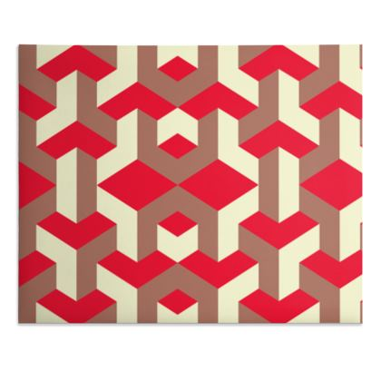 Heart in a cube - Desk Pad - Abstract geometry, red, contrasting, bright, elegant, statement, futuristic, spectacular, graphic, noble, asymmetrical, effective, stylish gift - design by Tiana Lofd