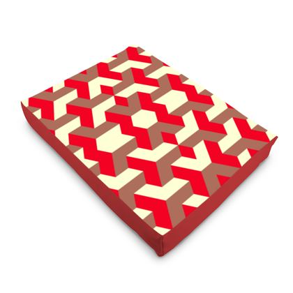 Heart in a cube - Dog Pet Bed - Abstract geometry, red, contrasting, bright, elegant, statement, futuristic, spectacular, graphic, noble, asymmetrical, effective, stylish gift - design by Tiana Lofd