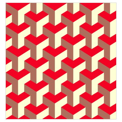 Heart in a cube - Fabric Printing - Abstract geometry, red, contrasting, bright, elegant, statement, futuristic, spectacular, graphic, noble, asymmetrical, effective, stylish gift - design by Tiana Lofd