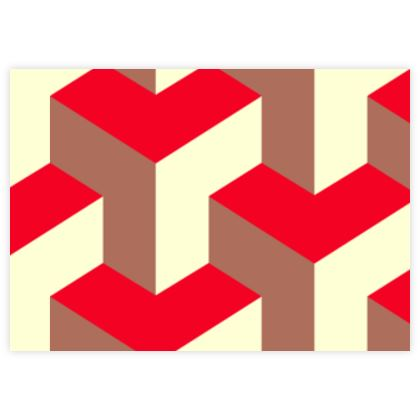 Heart in a cube - Fabric Sample Test Print - Abstract geometry, red, contrasting, bright, elegant, statement, futuristic, spectacular, graphic, noble, asymmetrical, effective, stylish gift - design by Tiana Lofd