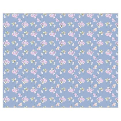 Curtains [shown with tape heading and hooks fitting] L137CM X W168CM, Blue, Mauve, Flowers  My Sweet Pea  Blue Bliss