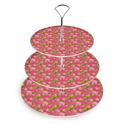 Cake Stand Pink, Green, Flowers  Alpina  Candyfloss
