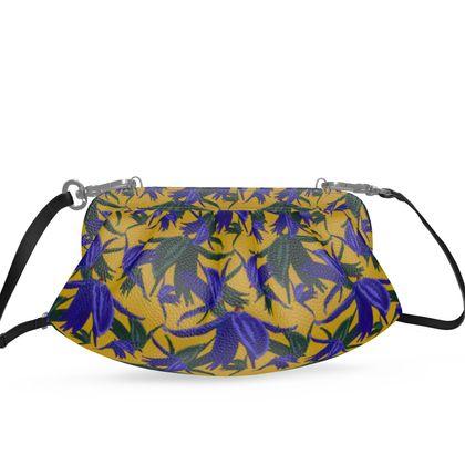 Pleated Soft Frame Bag, Mustard, Blue, Floral  Alpina  Warrior