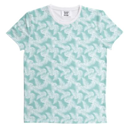 Tropical Light Mint Leaves All Over Graphic Tee