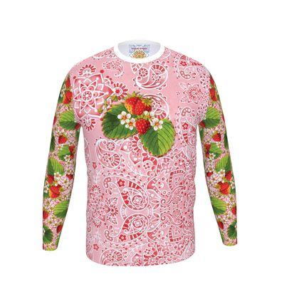 Pink Paisley Strawberries Men's Long Sleeve T Shirt
