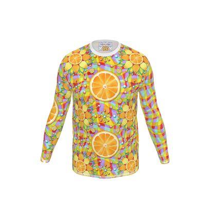 Orange Rainbow Plaid Men's Long Sleeve T Shirt