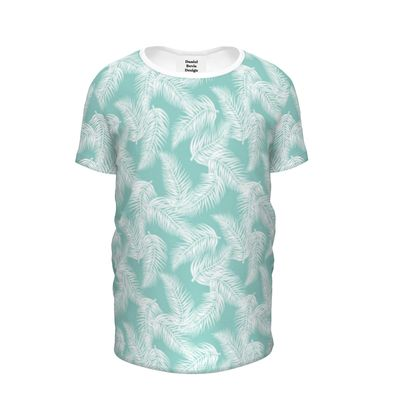 Tropical Light Mint Leaves All Over Girls Tee
