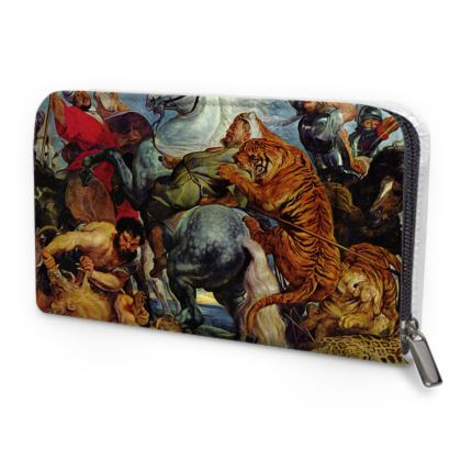 Leather Zip Purse: The Tiger Hunt By Peter Paul Rubens