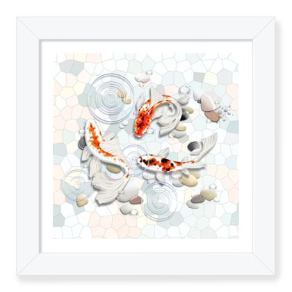 Framed Art Prints 'Clear Water Koi' theme, Artwork One 8x8 Inch