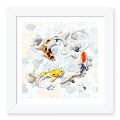 Framed Art Prints 'Clear Water Koi' theme, Artwork Two 8x8 Inch