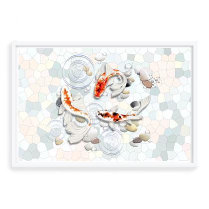 Framed Art Prints 'Clear Water Koi' theme, Artwork One 24X36 Inch