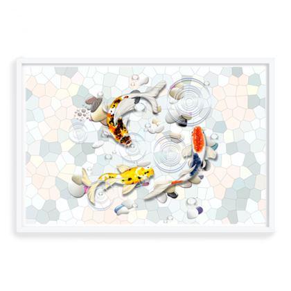 Framed Art Prints 'Clear Water Koi' theme, Artwork Two 24x36 Inch