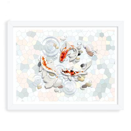Framed Art Prints 'Clear Water Koi' theme, Artwork One 12x16 Inch