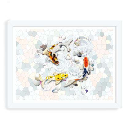 Framed Art Prints 'Clear Water Koi' theme, Artwork Two 12x16 Inch