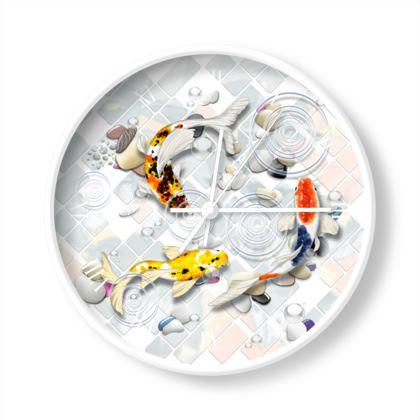 Wall Clock - 'Clear Water Koi' theme, Artwork Two