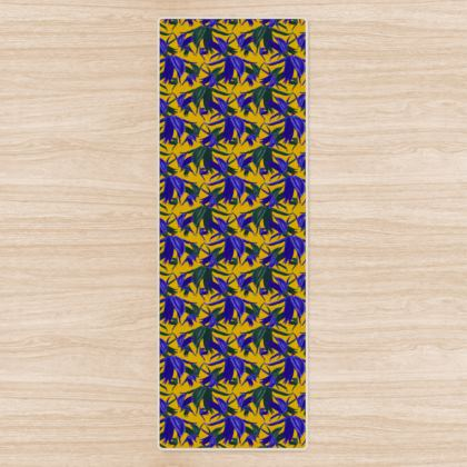 Yoga Mat Mustard, Blue, Flowers  Alpina  Warrior