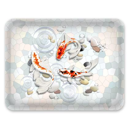 Tray - 'Clear Water Koi' Theme, Artwork One 43x33cm