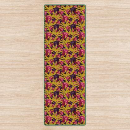 Yoga Mat, Mustard, Pink, Flowers  Alpina  Samurai