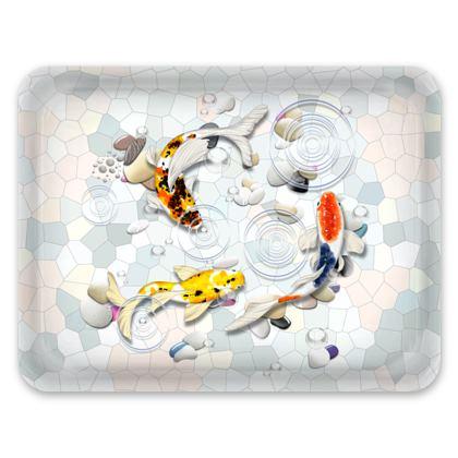 Tray - 'Clear Water Koi' Theme, Artwork Two 43x33cm
