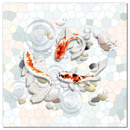 Playmat - 'Clear Water Koi' Theme, Artwork One 130x130cm