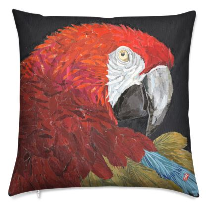 Red Macaw Parrot Cushion