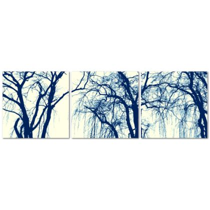 Blue Trees Triptych Canvas