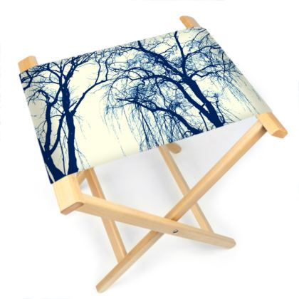 Blue Trees Folding Stool Chair