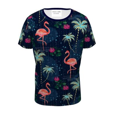 Pink flamingo - Mens T-Shirt - tropical rain, palms, dark blue, navy, exotic, Bohemian, whimsical,, b resort, beachright, jungle, travel - design by Tiana Lofd