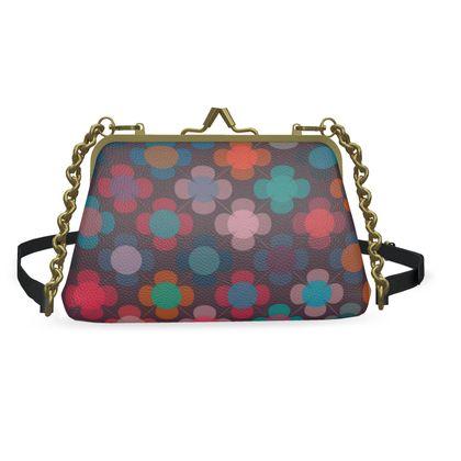 Granny flowers - Flat Frame Bag - vintage, multicolor, brown Boho gift, granny chic, patchwork