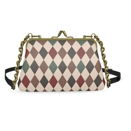 Autumn diamonds -Flat Frame Bag - rhombuses, beige geometric stylish gift