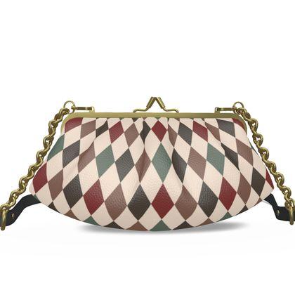 Autumn diamonds - Pleated Frame Bag - rhombuses, beige geometric stylish gift