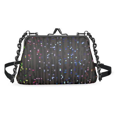 Cabaret Night - Flat Frame Bag - glitter black, sparkling, rainbow gift, iridescent