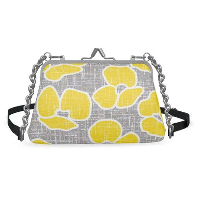 Sun poppies - Flat Frame Bag - yellow flowers, gray flax, trendy gift, floral
