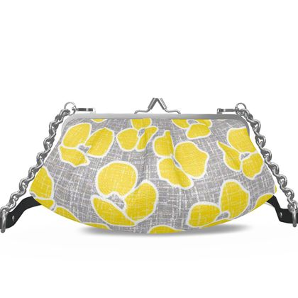 Sun poppies - Pleated Frame Bag - yellow flowers, gray flax, trendy gift, floral