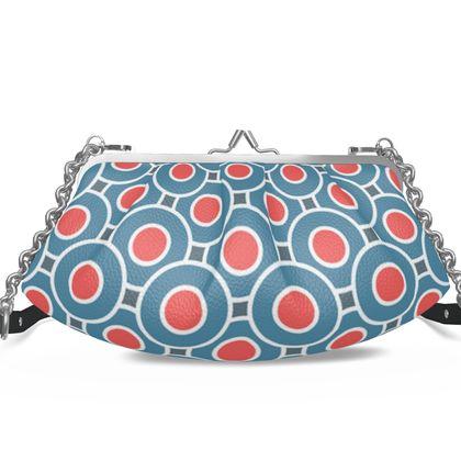 Japanese summer - Pleated Frame Bag - Geometric, blue and red, elegant vintage stylish gift, retro