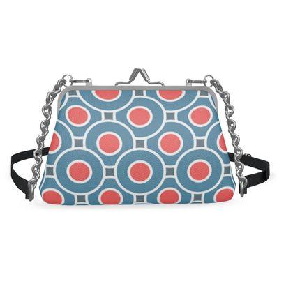 Japanese summer - Flat Frame Bag - Geometric, blue and red, elegant vintage stylish gift, retro