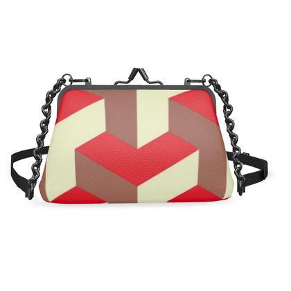 Heart in a cube - Flat Frame Bag - Abstract geometry, red, contrasting, bright, elegant, statement, futuristic, spectacular, graphic, noble, asymmetrical, effective, stylish gift - design by Tiana Lofd