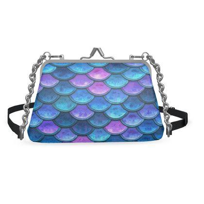 Mermaid skin - Flat Frame Bag - Fantasy, iridescent bright pink blue scales of dragon, fish tail, mermaid lover gift, sea creature, ocean - Tiana Lofd design