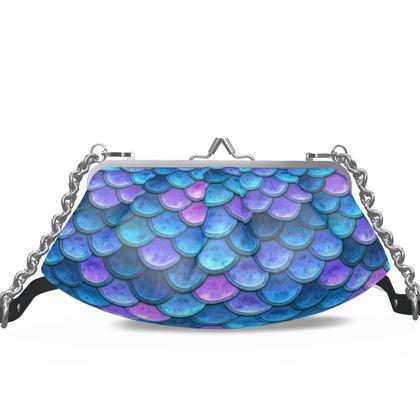 Mermaid skin - Pleated Frame Bag - Fantasy, iridescent bright pink blue scales of dragon, fish tail, mermaid lover gift, sea creature, ocean - Tiana Lofd design
