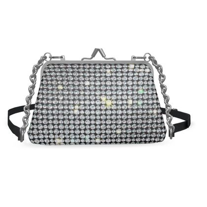 Diamond glamor - Flat Frame Bag - Brilliant crystals, chic, black and white, jewelery, fun gift