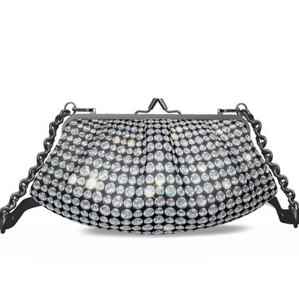 Diamond glamor - Pleated Frame Bag - Brilliant crystals, chic, black and white, jewelery, fun gift