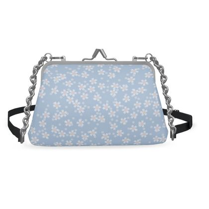 Forget-me-not - Flat Frame Bag - Spring floral, vintage granny chic, blooming white blue flowers, lovely, light, delicate, fine Boho-flowered gift - design by Tiana Lofd