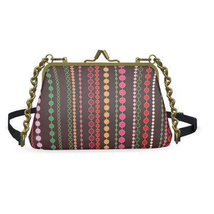 Clay Beads - Flat Frame Bag - Boho gift, multicolour stripes, bright brown expressive