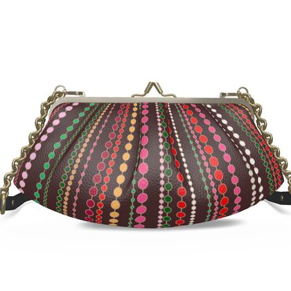 Clay Beads - Pleated Frame Bag - Boho gift, multicolour stripes, bright brown expressive