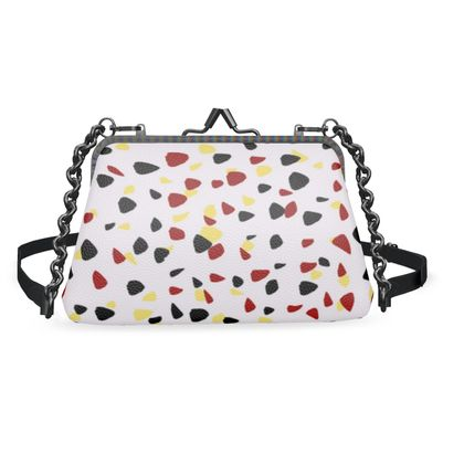 I do not care - Flat Frame Bag - abstract, bright strokes, colored dots, spots, expressive gift